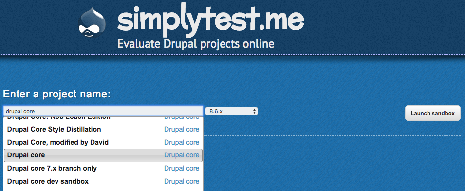 SimplyTest Me Screenshot, showing drop down fields described in the text.